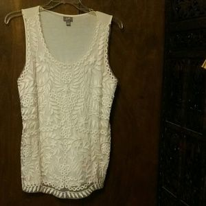 J JILL Creme Knit and Lace Camisole - Large